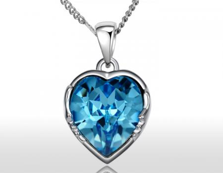 Collana cuore crystal blue Svarowski Elements fashion supersconti super sconti