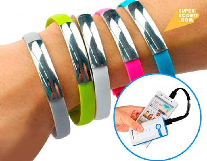 2 bracciali USB caricabatterie Samsung o iPhone elettronica telefonia accessori super sconti supersconti